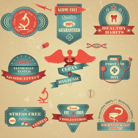 clinically: Salute e Badge Medical Vettoriali
