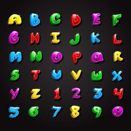 Glossy Alphabet and Number Collection Vector