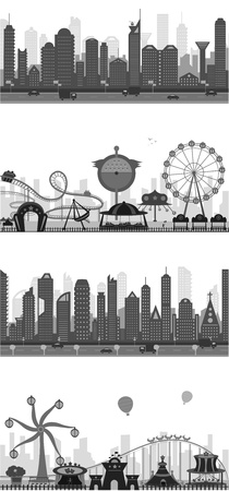 amusement park black and white: Cityscape Silhouette