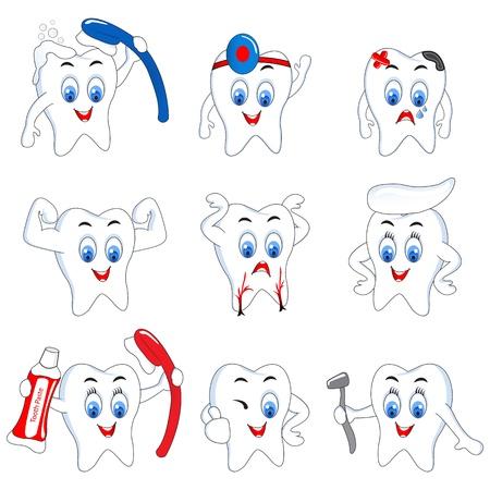 diente caries: Diente Actividad Vectores