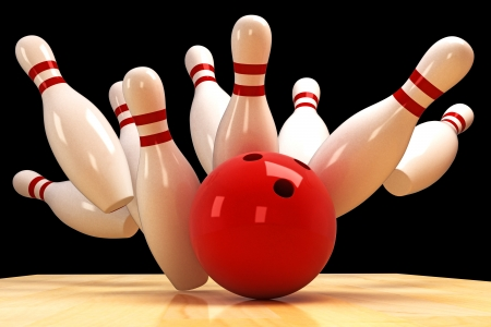 bowling strike: Skittle and Bowling Ball Stock Photo