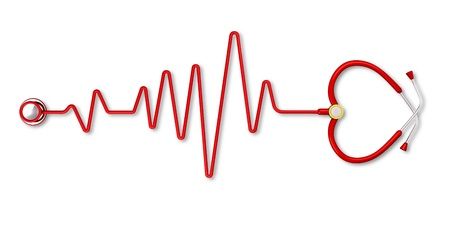 electrocardiogram: Stethoscope forming Heart Beat Stock Photo