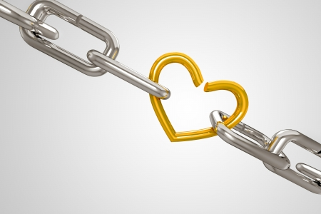 sad love: 3d Shackel attached with Golden Heart Stock Photo