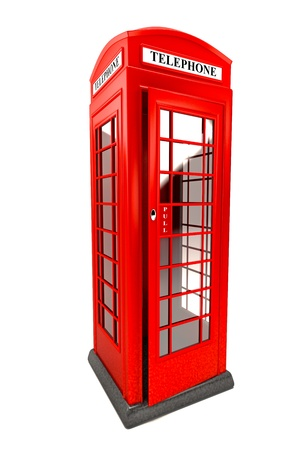 red telephone box: Public Telephone Booth Stock Photo