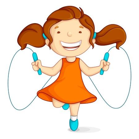 jump rope: Chica haciendo saltar