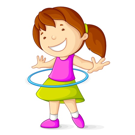 Girl Playing with Hula Hoop Vector