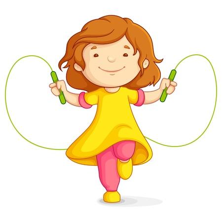 jump rope: Chica haciendo Skipping