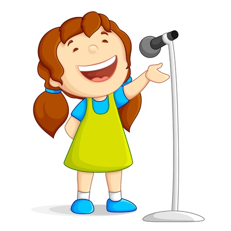 child singing: Singing Girl Illustration