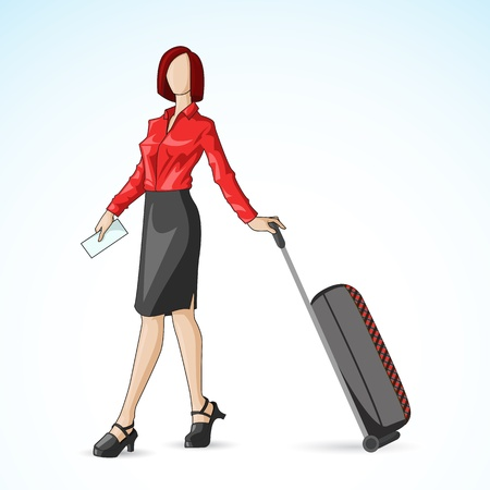 sexy business woman: Business Woman with Travel Bag Illustration