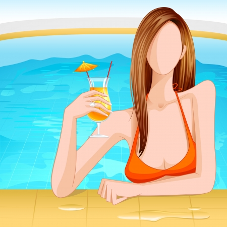 Lady in Swimming Pool Stock Vector - 14315271