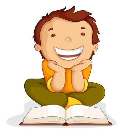 Kid reading Open Book Vector