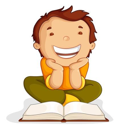 child book: Kid reading Open Book Illustration