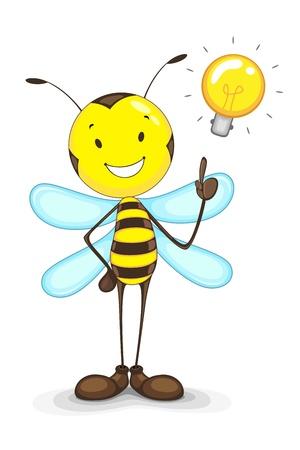 idee gl�hbirne: Bee mit Idea Bulb Illustration