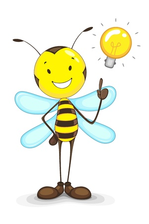 Bee with Idea Bulb Stock Vector - 14315251
