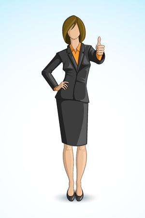 thumbs up business: Mujer de negocios que muestran los pulgares para arriba Vectores