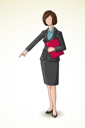 downwards: Business Lady pointing downward
