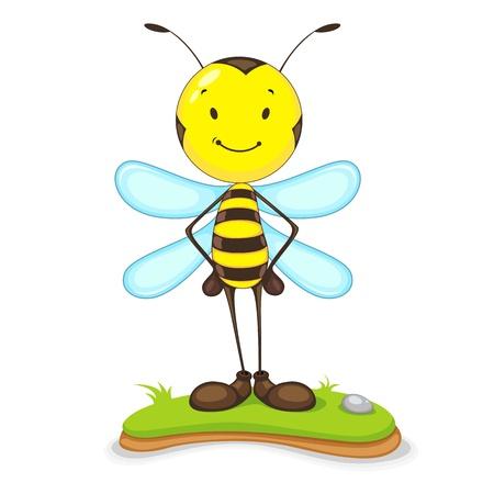 mosca caricatura: Feliz de la abeja