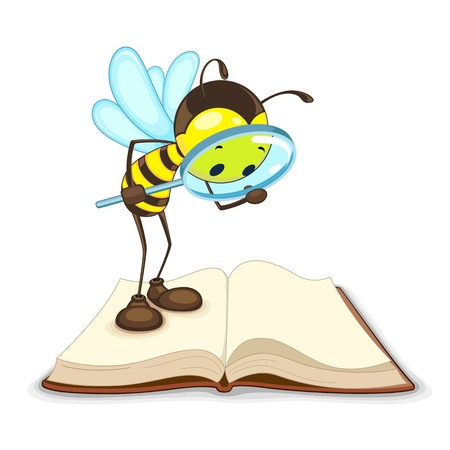 abeja caricatura: Bee buscar con lupa