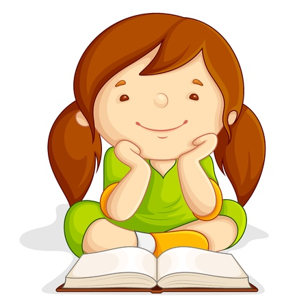 Girl reading Open Book Illustration