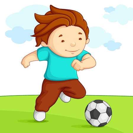 school playground: Kid playing Soccer