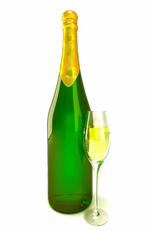 Champagne Bottle and Glass photo