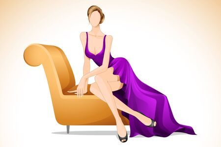 glamour woman elegant: illustration of lady sitting in sofa