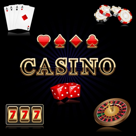 illustration of casino related object against black background illustration