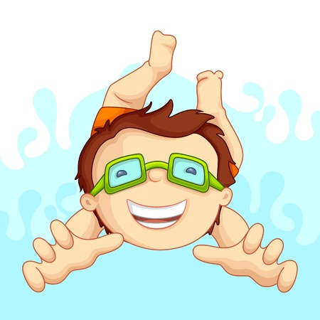 swimming goggles: vecto illustartion of kid in swimming pool
