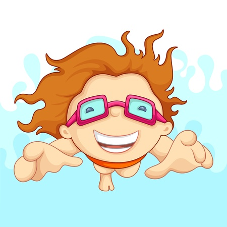 swimming goggles: vecto illustartion of boy doing swimming with safety goggles
