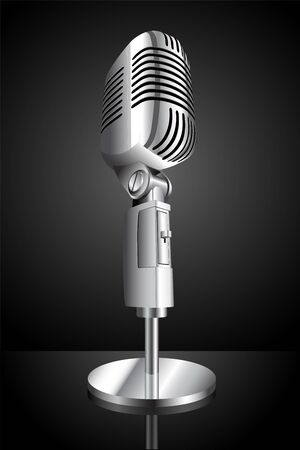 illustration of microphone on black background illustration