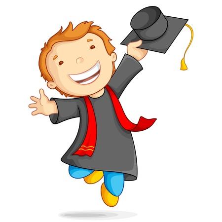 licenciatura: Ilustración de un niño en traje de graduación y birrete Foto de archivo