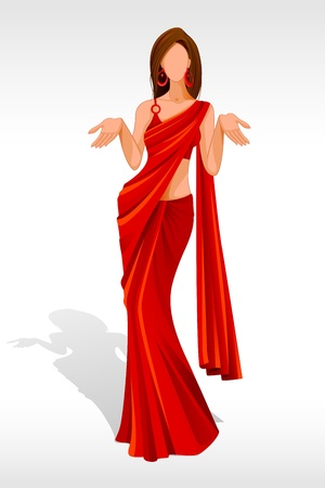 illustration of indian lady posing in saree Stock Illustration - 14388200