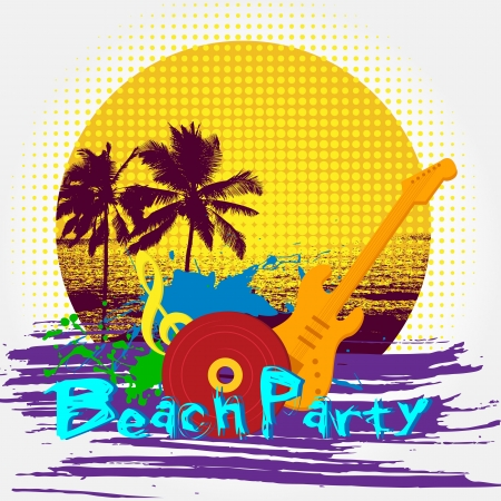 illustration of beach party poster with guitar and palm tree Stock Illustration - 14388217