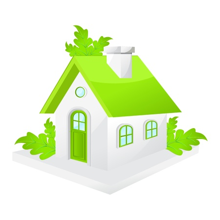 dream home: illustration of green house with ecological concept Stock Photo