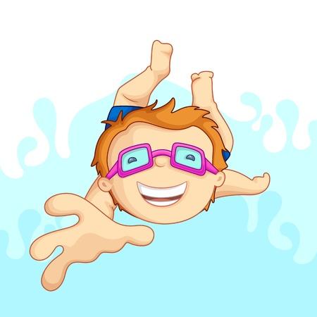 vecto illustartion of kid in swimming pool Stock Photo - 14388203