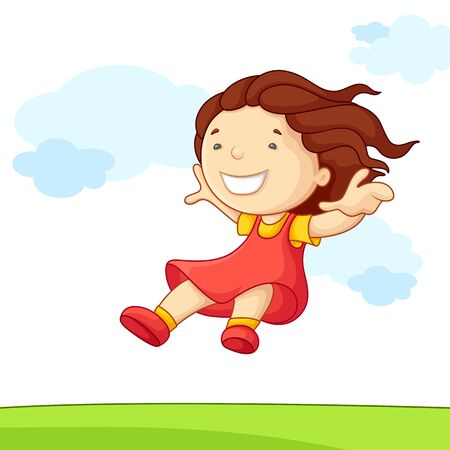 freedom of expression: illustration of jumping baby girl in park Stock Photo