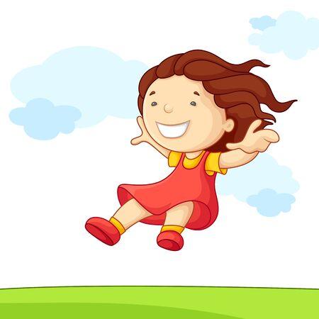 illustration of jumping baby girl in park Stock Illustration - 14388197