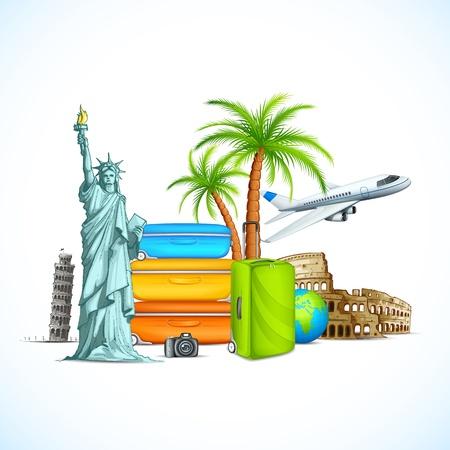 pisa: vector illustratie van de wereld beroemde monument met bagage