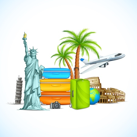 the leaning tower of pisa: vector illustration of world famous monument with luggage