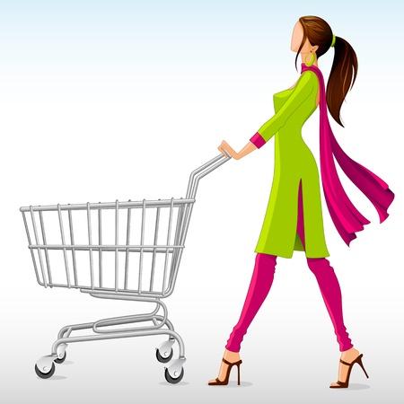 ilustración vectorial de la mujer en traje salwar con carrito de compras