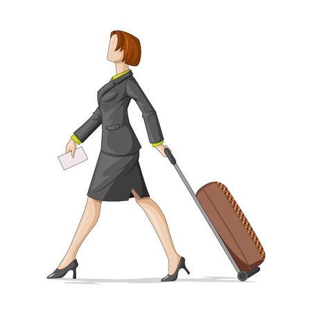 business traveller: vector illustration of business woman with travel bag Illustration