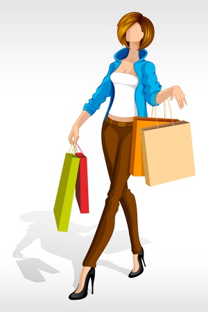 vector illustration of woman with shopping bag Stock Vector - 14504600