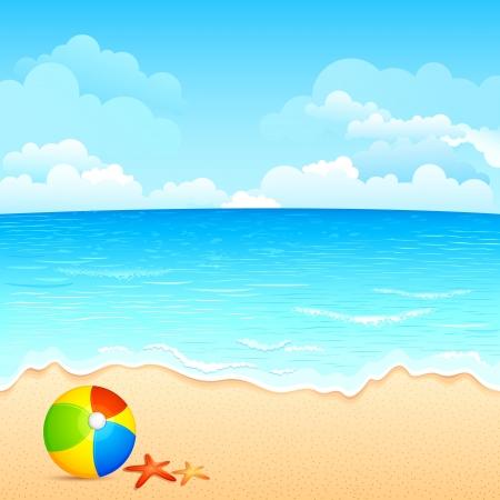 고요한 장면: 바다 해변에서 다채로운 공 및 쉘의 벡터 일러스트 레이 션