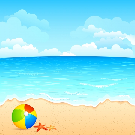 tranquil scene: vector illustration of colorful ball and shell on sea beach
