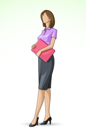 executive assistants: vector illustration of corporate lady holding laptop