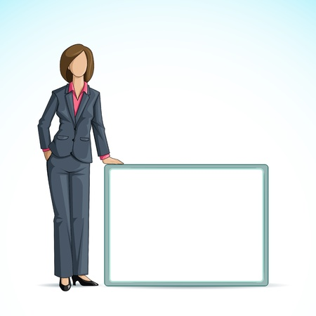 vector illustration of business woman holding blank placard Stock Vector - 14504553