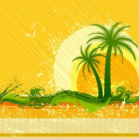 fiesta en la playa: ilustraci�n vectorial de cartel fiesta en la playa con la palmera