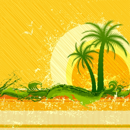 evening party: vector illustration of beach party poster with palm tree
