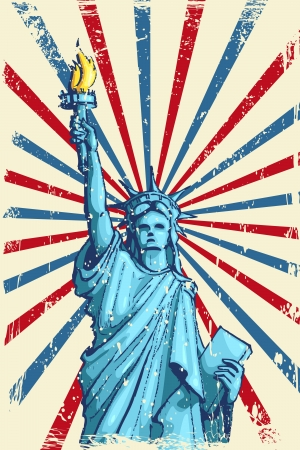 vector illustration of Statue of Liberty on American Flag Vector