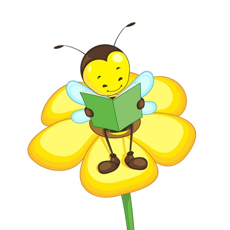 Editable vector bee reading on a flower